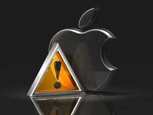 3d illustration of a metallic yellow attention symbol standing in front of an upright transparent glass Apple logo on a black reflective surface